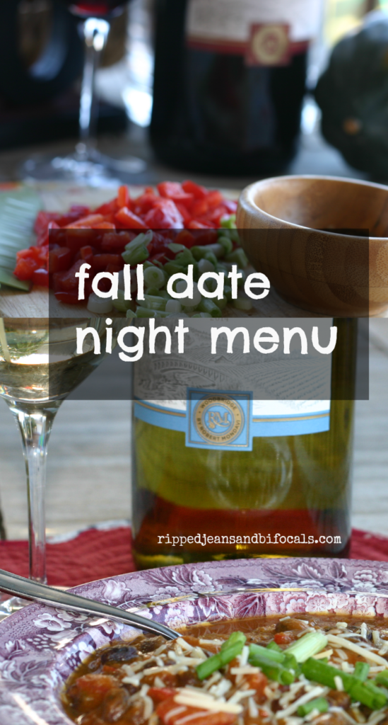 Fall date night dinner party menu with wine pairings|Ripped Jeans and Bifocals|acorn squash ideas|wine pairing ideas|fall dinner ideas|pumpkin soup|crockpot pork medallions