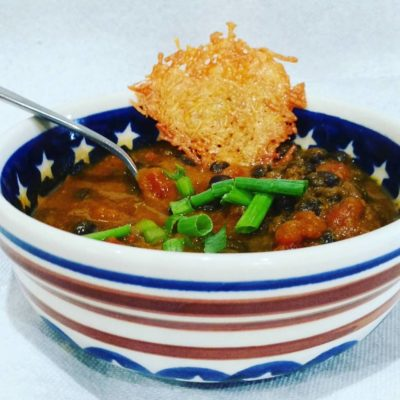 Pumpkin Black Bean Soup with Parmesean Cheese Crackers