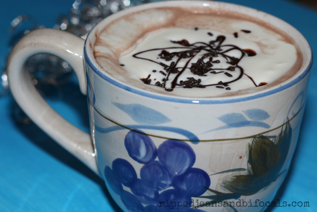 "My ""special"" hot cocoa is kind of a cheat. I add a tablespoon of powdered milk and a teaspoon of white chocolate chips to a packet of regular instant cocoa mix. Top with sweetened cream, chocolate sprinkles and a drizzle of chocolate syrup. It's indulgently good."