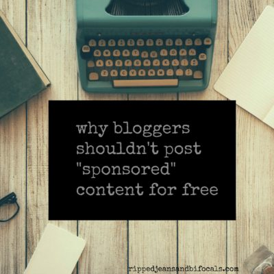 Why bloggers shouldn't post sponsored content for free