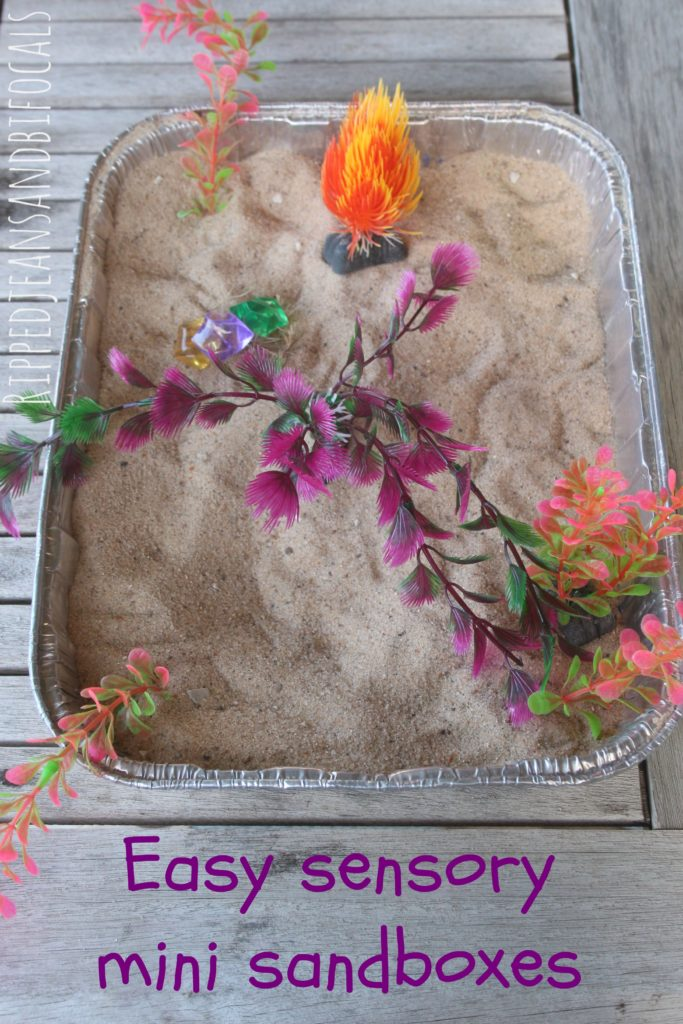 Easy sensory mini sandboxes|Ripped Jeans and Bifocals