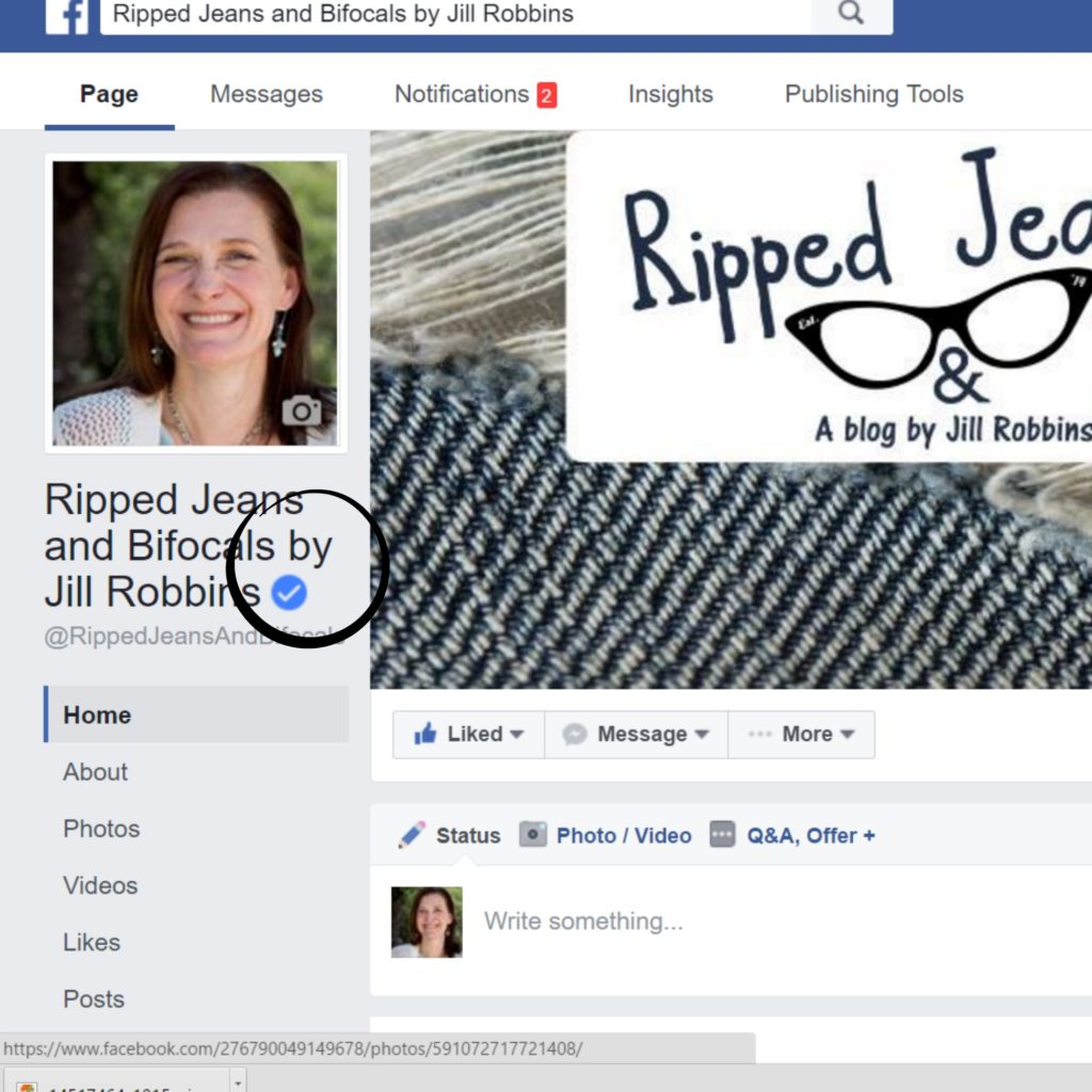 How I got my Facebook page verified|Ripped Jeans and Bifocals