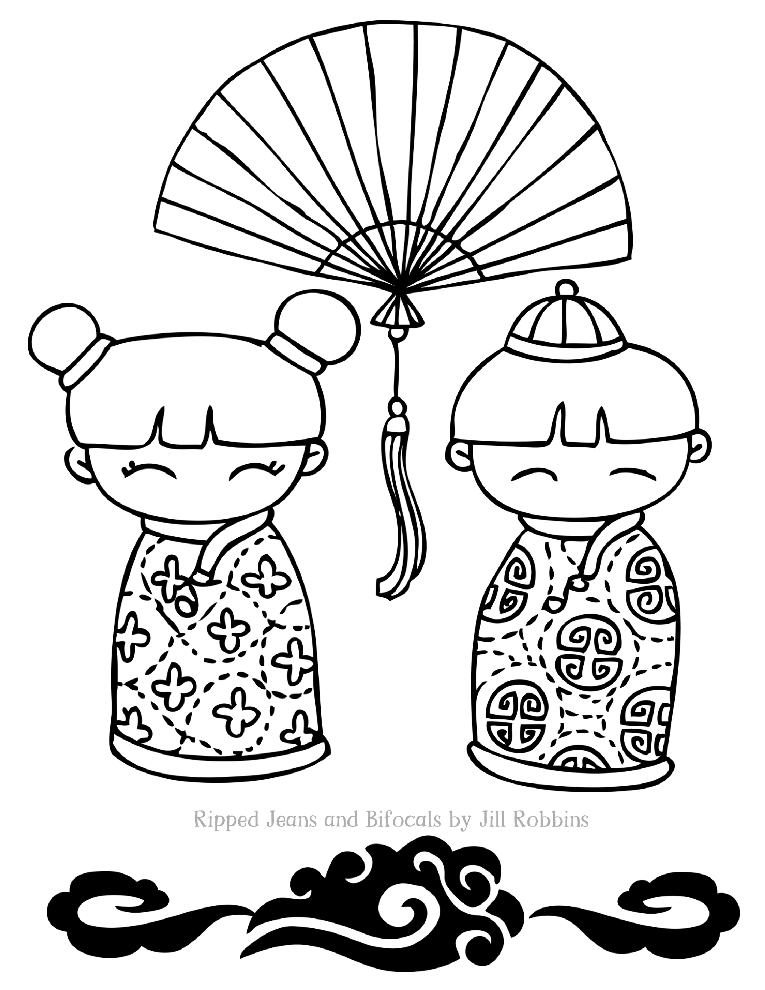 Colouring sheets chinese new year 2017 - 2 Dollsfan