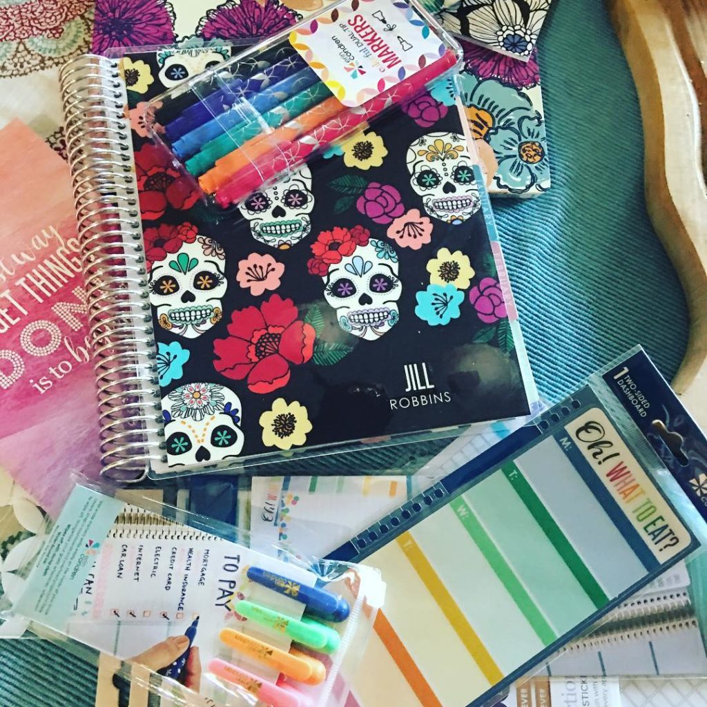My new planner and other goodies from @erincondrendesign have made this first day of daylight savings time so much better. If I can't get organized with this haul then there's probably no hope for me at all. Here's hoping! #planner #sugarskull #ridiculouslyhappy