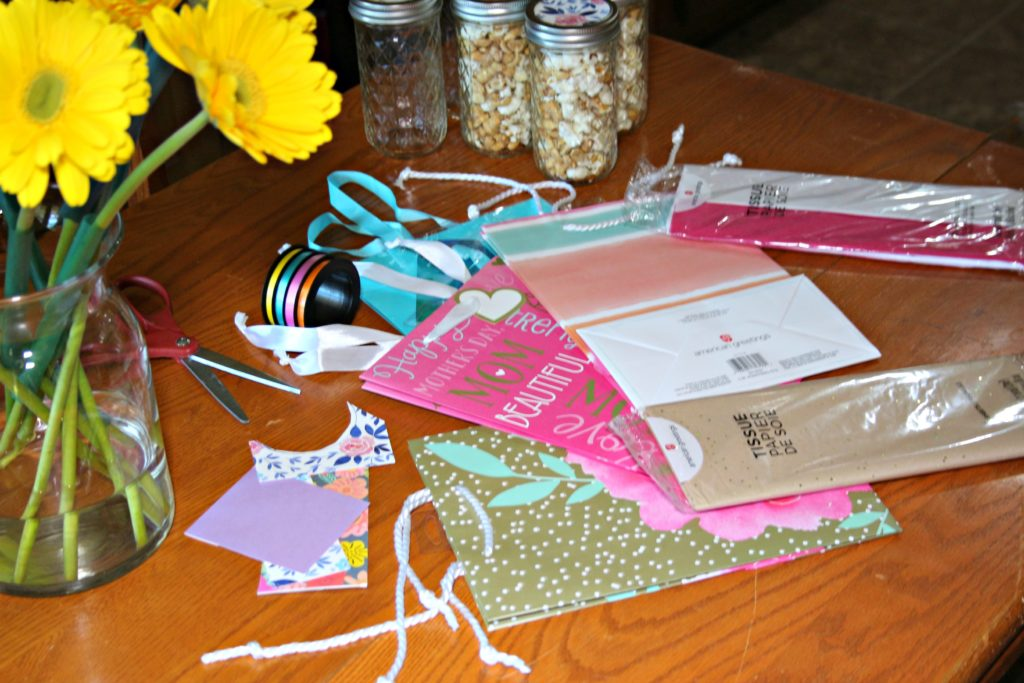 Mother's Day Gift Idea: Mason Jars with Upcycled Greeting Cards Ripped Jeans and Bifocals