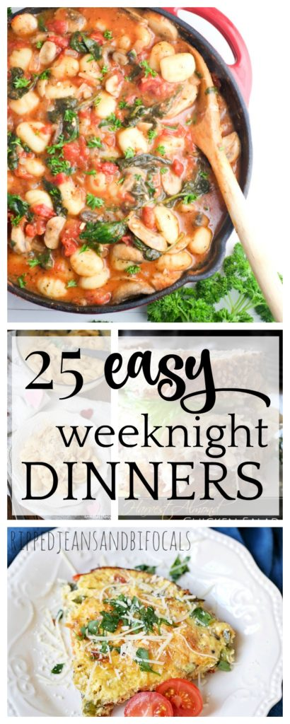 If you're like me, you need weeknight meals to be on the table fast. They also need to be easy, nutrtious and eveyone has to like them. Check out this list of easy weeknight meal ideas...it will definitely simplify your dinner routine as you get adjusted to the kids being back in school|Ripped Jeans and Bifocals