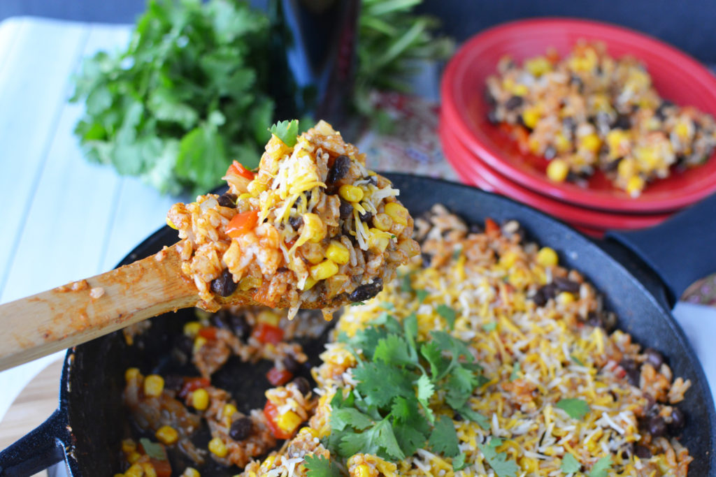 This easy enchilada skillet is an awesome quick dinner solution and a great meatless meal option|Ripped Jeans and Bifocals