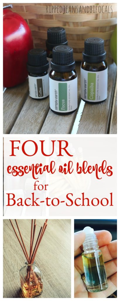 Back to school always throws me off because I'm getting back into that weekday and back to school routine after the lazy days of summer. Here are four ways I use essential oils in our house for back to school. I hope you like these four essential oil blends for back to school|Ripped Jeans and Bifocals