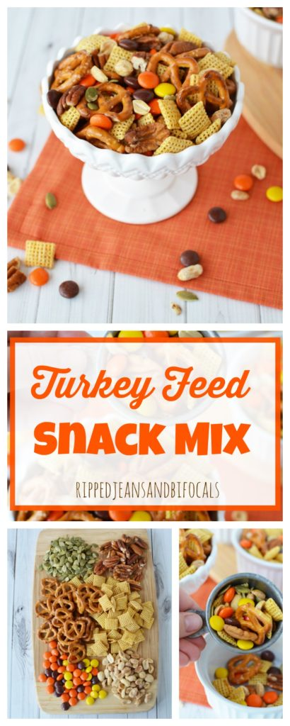 Keep your kids busy on Thanksgiving with this cute Turkey Feed Snack Mix|Ripped Jeans and Bifocals