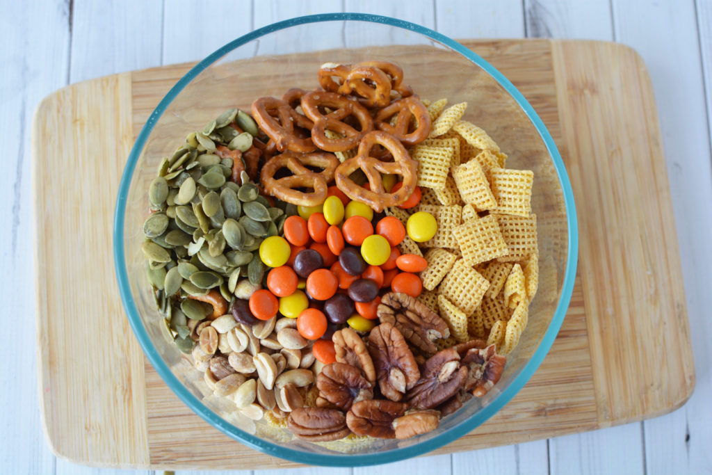 You can adjust the ingredients for your Thanksgiving Snack Mix if you don't want to add nuts