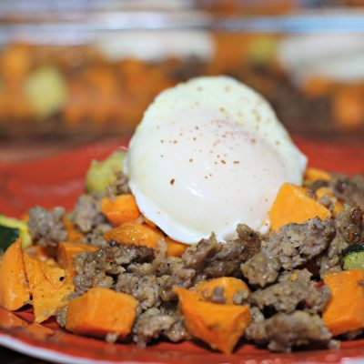 Savory sausage and sweet potato breakfast casserole