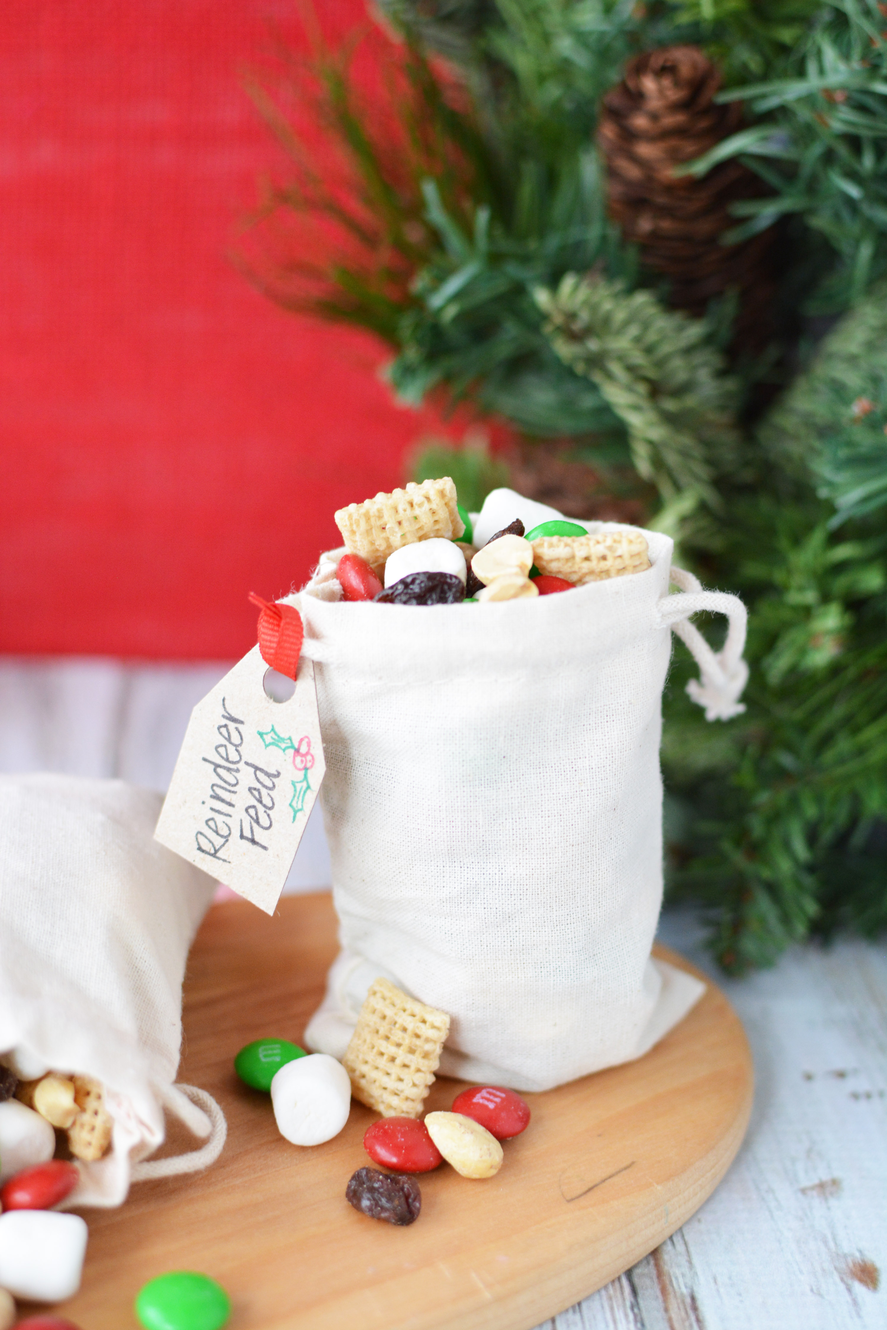 Christmas snack mix in a bag