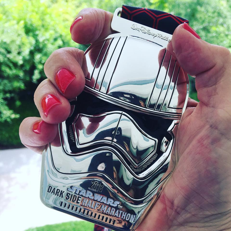 The finisher medals for the Star Wars Half Marathon are pretty awesome!