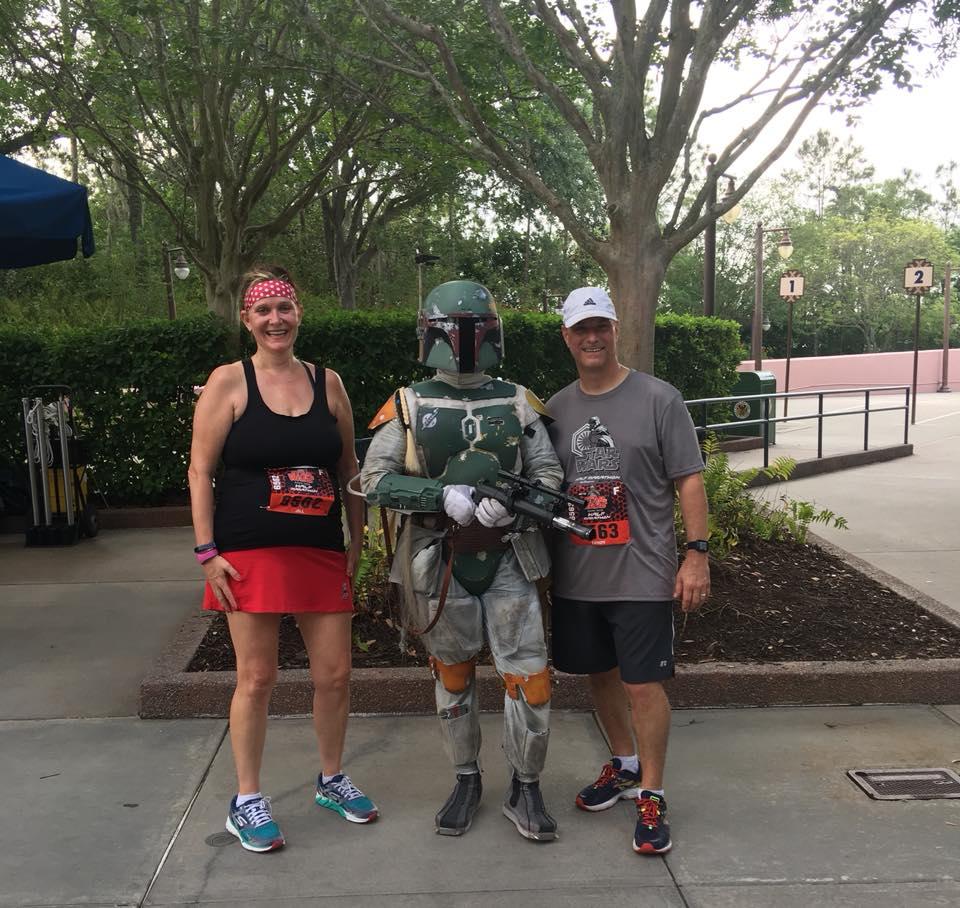 We got to meet Boba Fett at the Star Wars Marathon!
