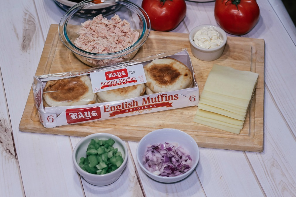Ingredients for tuna melt on a wooden table|How to make an easy tuna melt using English Muffins