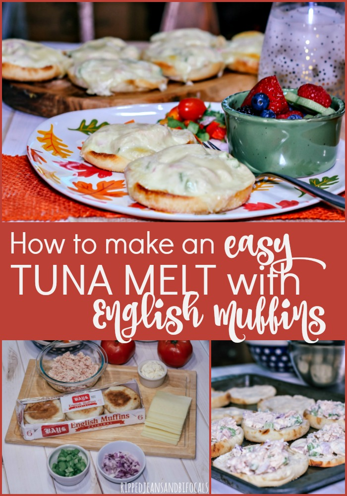 English Muffin Tuna Melt on patterned plate with fruit salad|How to make an easy tuna melt using English Muffins