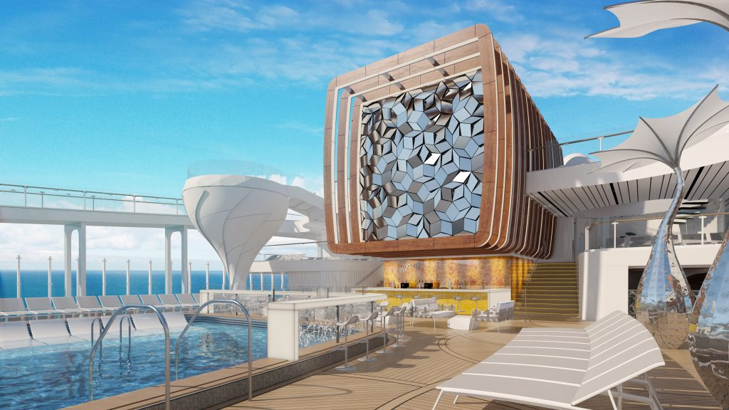 Cruise ship pool area on deck of Celebrity Edge|How to use the Celebrity Cruise app