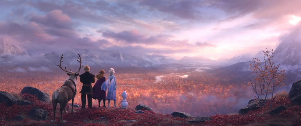 Olaf, Elsa, Anna, Kristoff, and Sven overlook a valley of fall colors (not in Arendelle)|The Frozen 2 Teaser Trailer has dropped and we all have questions