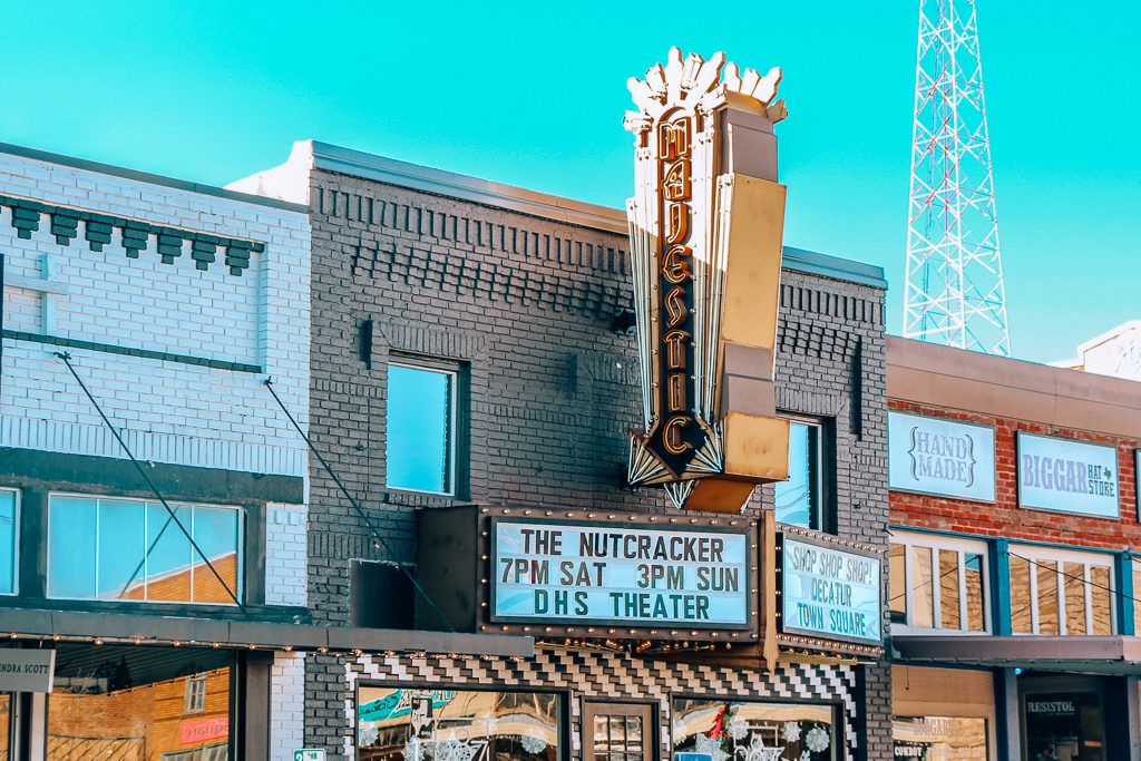 Best places to take Instagram Photos in Decatur Texas Majestic Sign in Decatur Texas