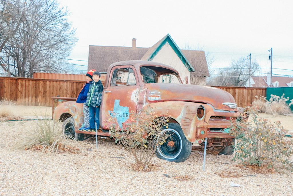 Best places to take Instagram Photos in Decatur Texas Rusted red truck in Decatur Texas
