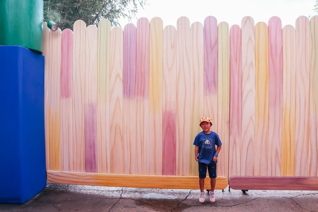 Open to close touring plan for Disney's Hollywood Studios|Popsicle stick wall at Toy Story Land