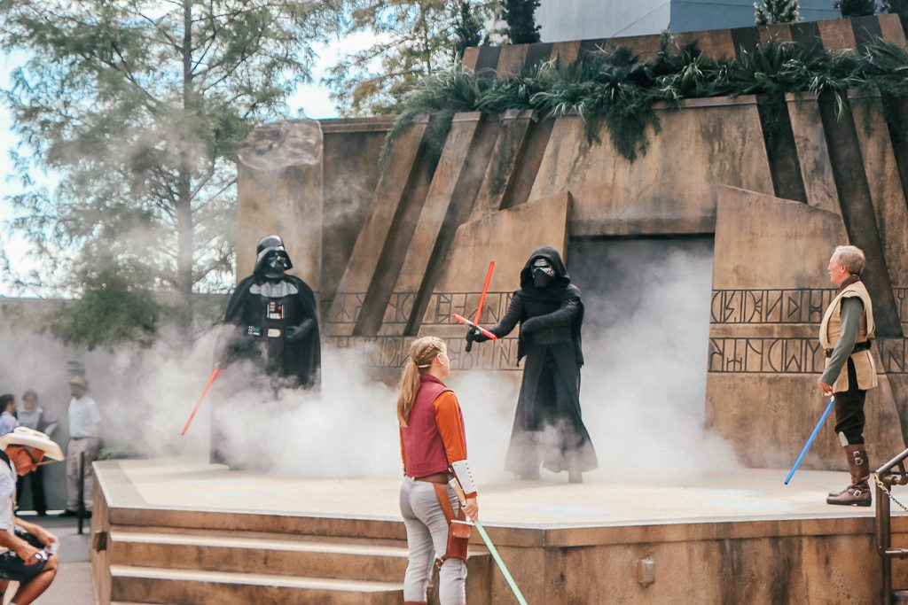 The Jedi Training Academy at Disney's Hollywood Studios: What you need to know|Darth Vader and Kylo Ren with Jedi Masters