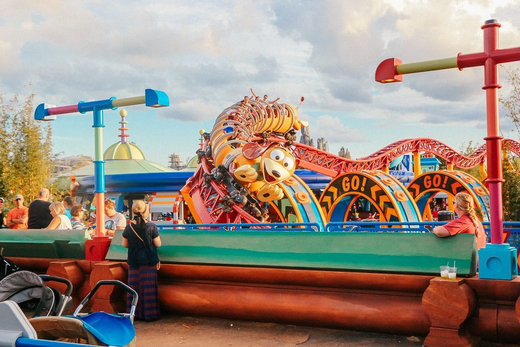 Open to close touring plan for Disney's Hollywood Studios|Slinky Dog Dash at sunset