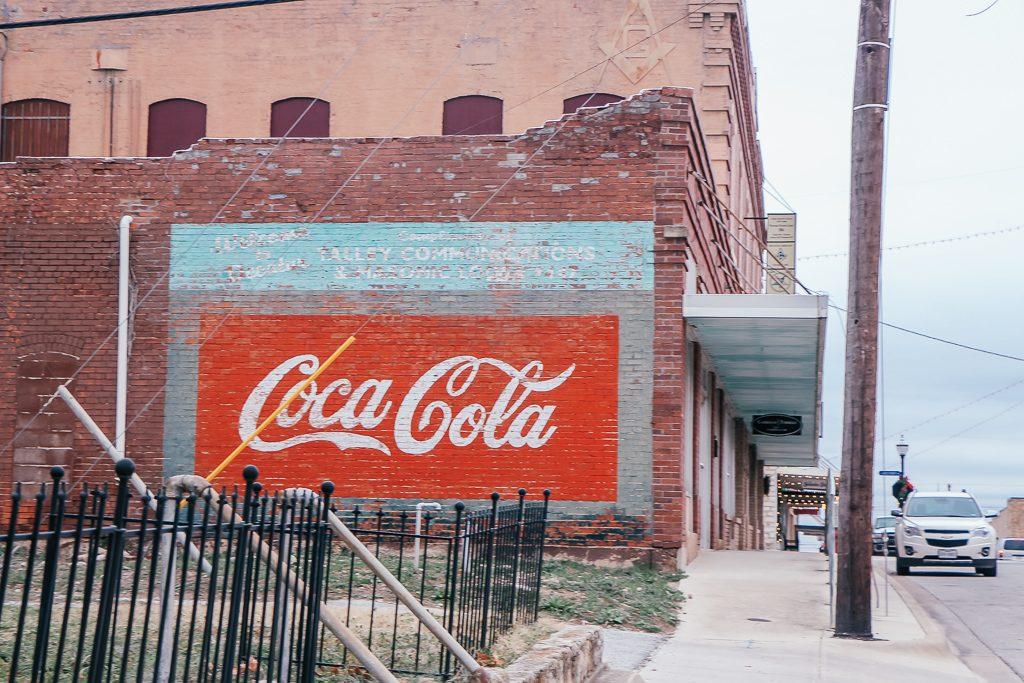 Best places to take Instagram Photos in Decatur Texas Coca Cola mural in Decatur Texas