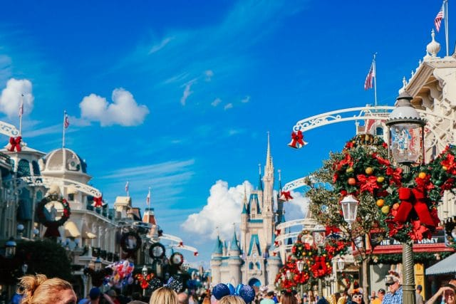 Disney World Planning|View of the Castle at Magic Kingdom at Christmas