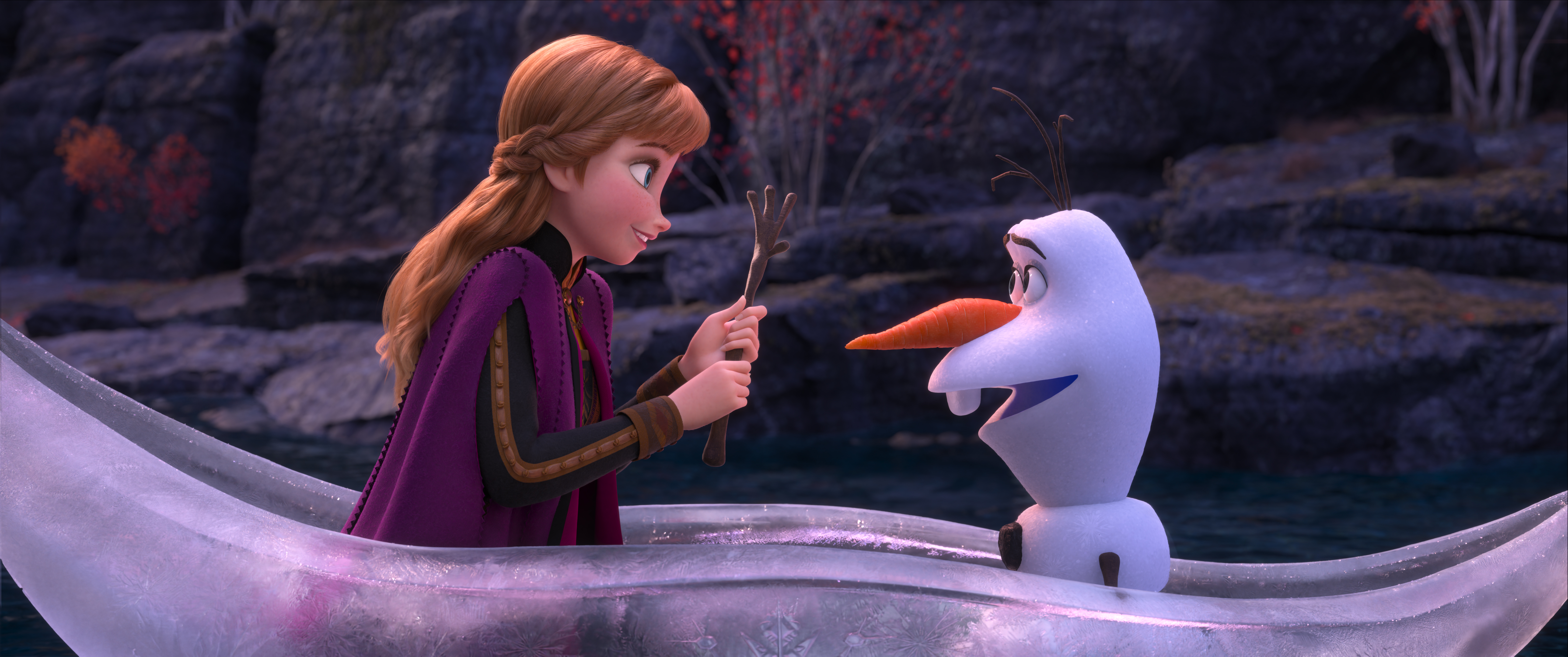 Frozen 2 trailer released June 11 Anna and Olaf in glass canoe