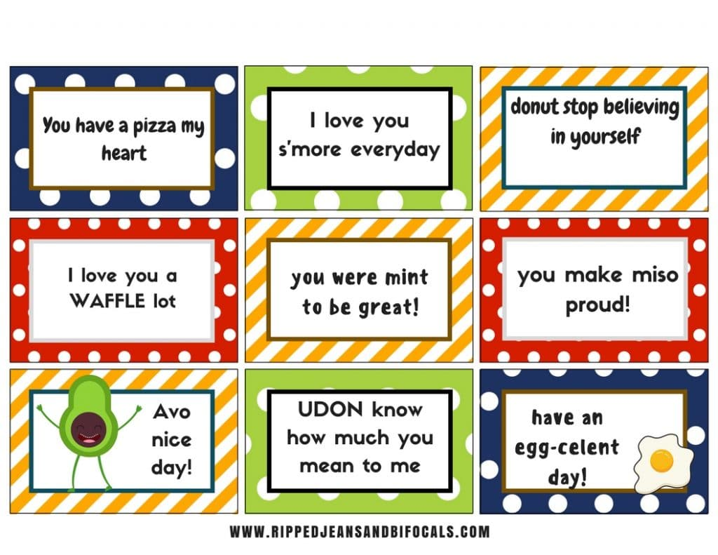 Cute, food-themed lunchbox printables