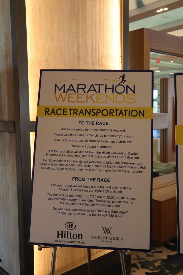 This is the best hotel for Disney Princess Half Marathon because they go to such lengths to give runners the info