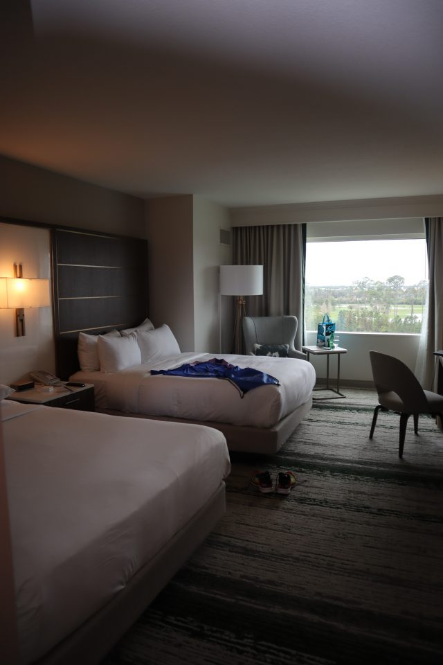 Super spacious room at Hilton Orlando Bonnet Creek overlooking pool