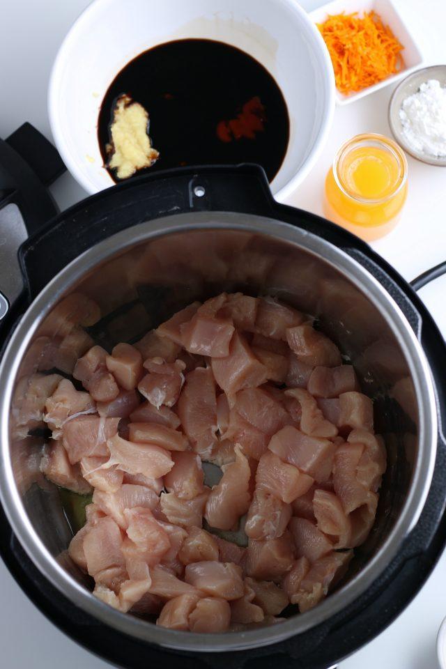 In process: Instant Pot orange chicken