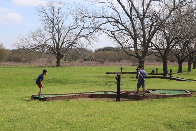 Two boys playing mini golf