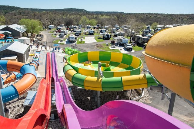 Water slides at Jellystone Park