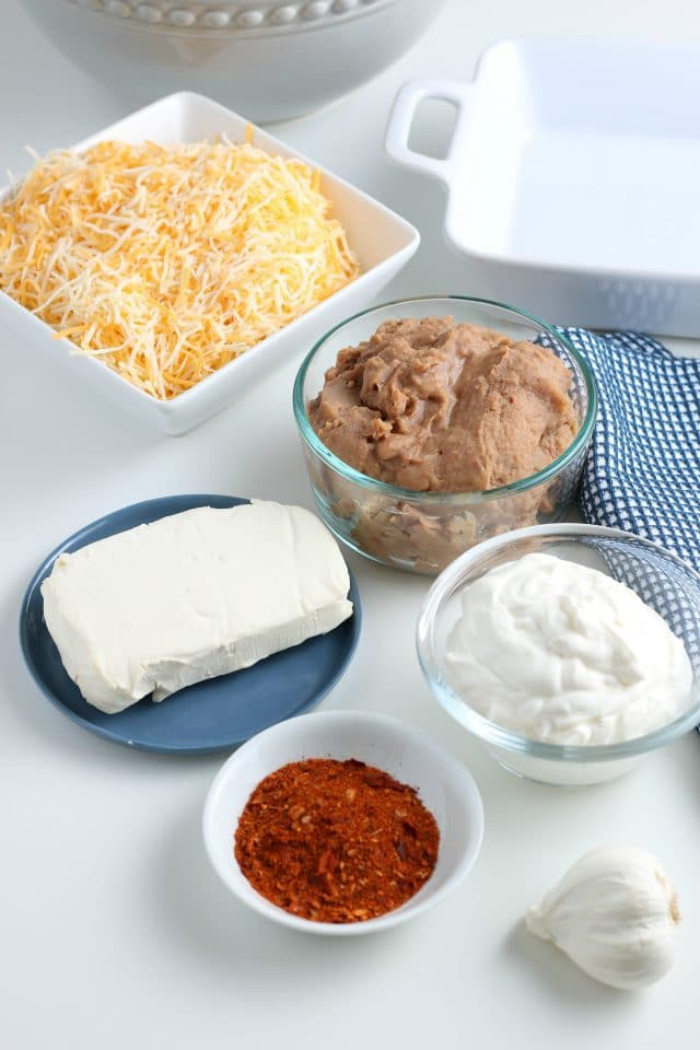 ingredients for refried bean dip