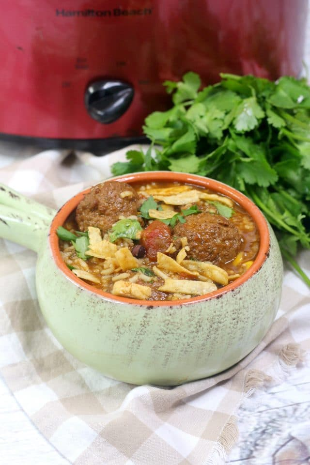 TEX MEX Meatball Soup with Cilantro