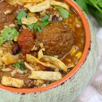 Slow Cooker Tex Mex Meatball Soup
