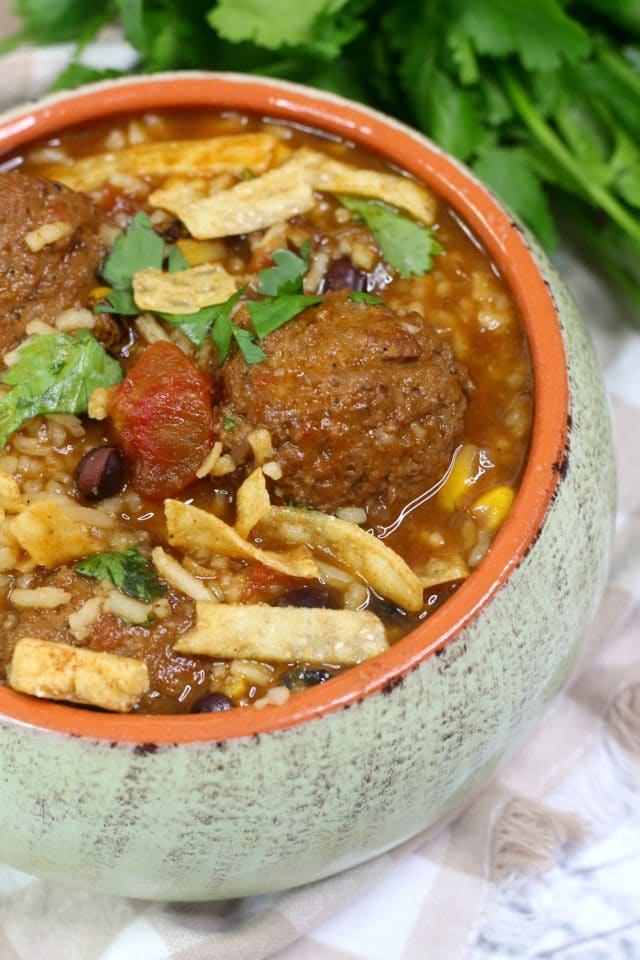 Easy winter meals - slow cooker meatball soup