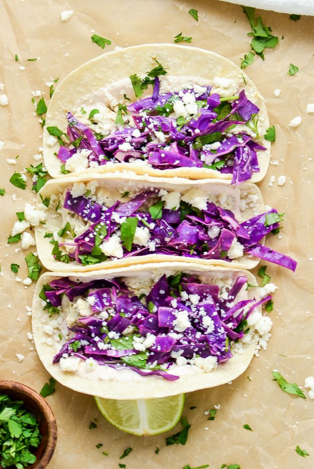 Slow Cooker Chicken Verde Tacos with Purple Cabbage