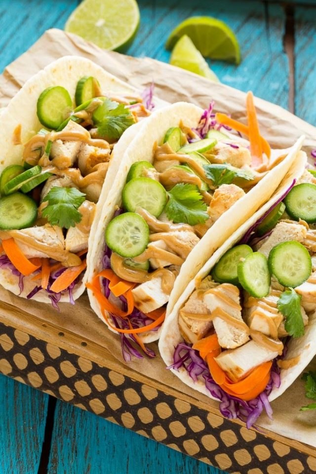 Thai Chicken Tacos with pickled cucumbers
