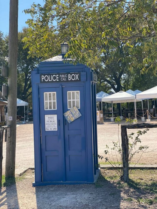 Blue Police Box at Salt Lick BBQ in Driftwood TX