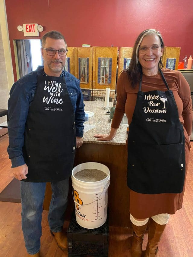 Wine making - bucket of chardonnay