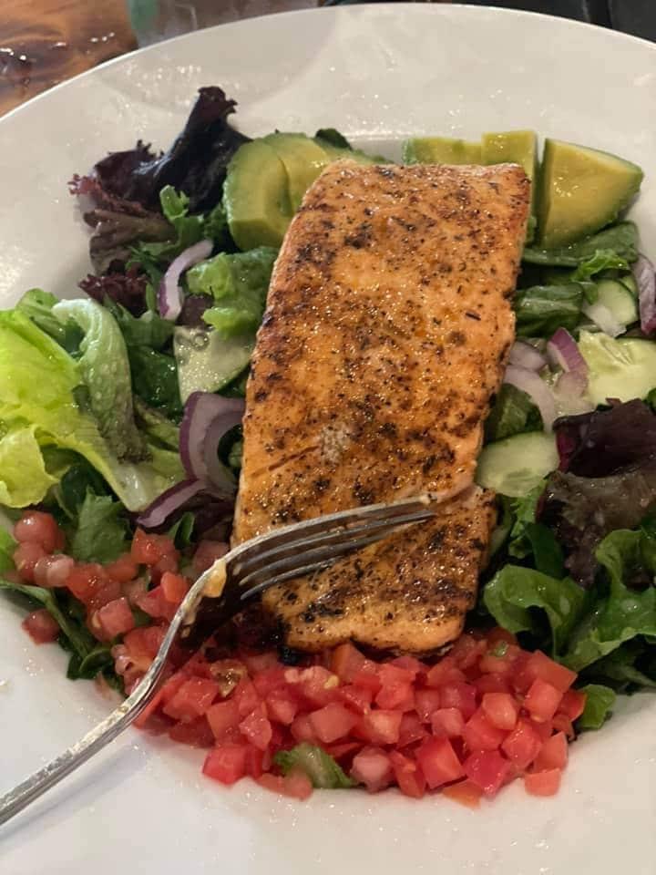 blackened salmon salad at Ford's Garage